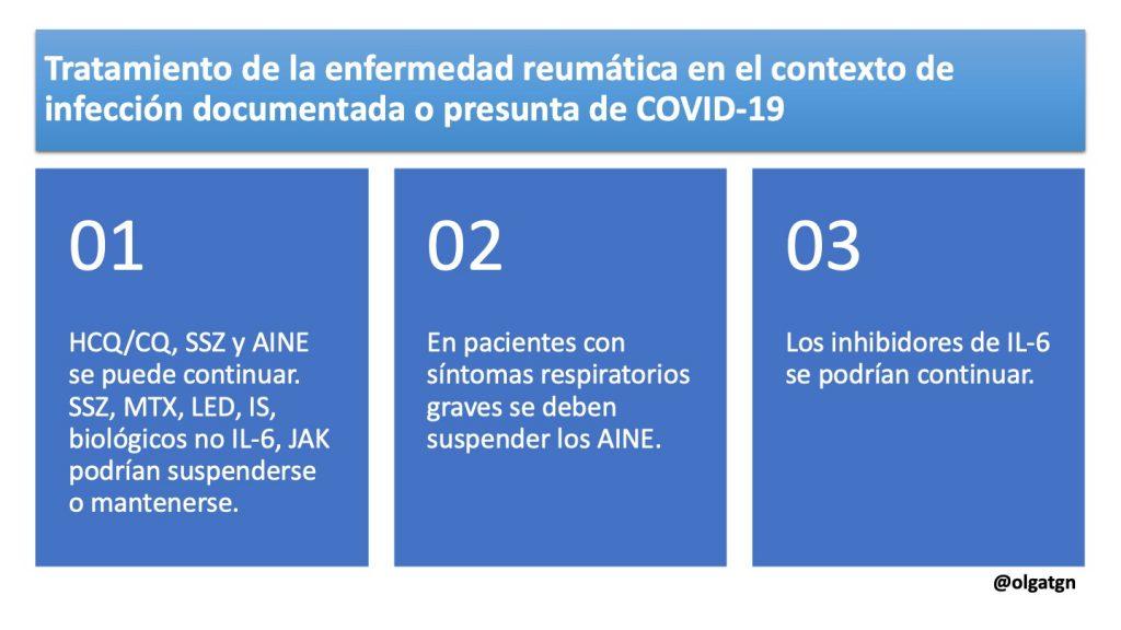 Tratamiento de la enfermedad reumática o autoinmune sistémica en el contexto de infección documentada o presunta por COVID-19
